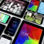 mobility concept: render of a collection of mobile devices, tablets and smartphones with different screens